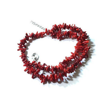 Red Sea Coral Necklace , Genuine Red Branch Coral ,  Natural Red Sea Coral , Coral Necklace , Gift For Her