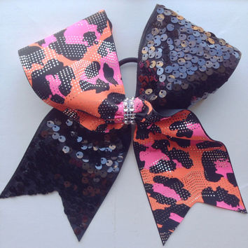 Black Sequin And Cheetah Print Cheer Bow