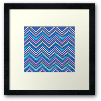 Periwinkle Blue Pink & Gray Chevron Abstract Pattern Art Print by Abstractdesigns- Framed prints,posters, modern art, wall art, home decor