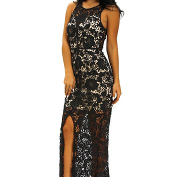 Chicloth Black Crochet Lace Nude Slit Front Maxi Dress