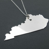State Necklace Kentucky State Charm Necklace Sterling Silver State Necklace With A Heart