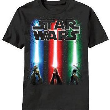 Star Wars Sabers Rise GLOW In The Dark Licensed Kid's Youth T-Shirt - Black
