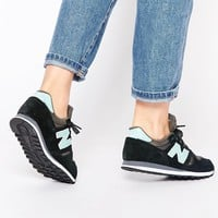 New Balance 373 Black & Turquoise Suede Trainers