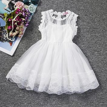Baby Girl Floral Lace Princess Tutu Dress Wedding Christening Gown Dress Girls Clothes For Kids Party Wear