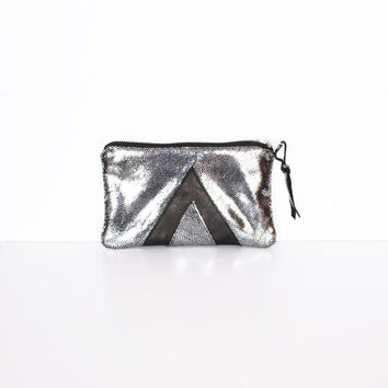 Silver Galaxy Leather // Art Deco Purse // Geometric Clutch // Black Holographic // Purse Bag // Gift for her