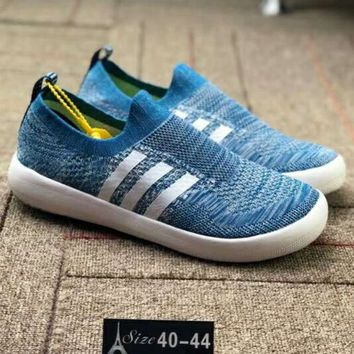 ADIDAS 2018 outdoor breathable light casual running shoes sets of lazy shoes F-CSXY blue