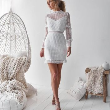 Fashionable water-soluble lace-wrapped hip dress