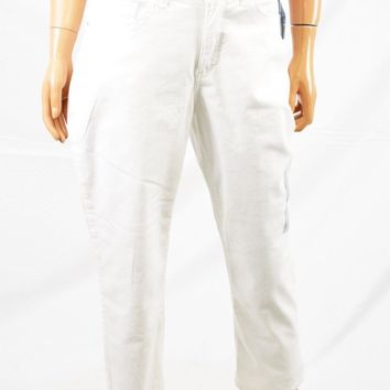 Lee Women's Stretch White Easy Fit Mid Rise Cameron Capri Cropped Jeans 8 M