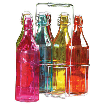 Vintage 7-Pc Color Bottles, Assorted Sets of Barware Glasses