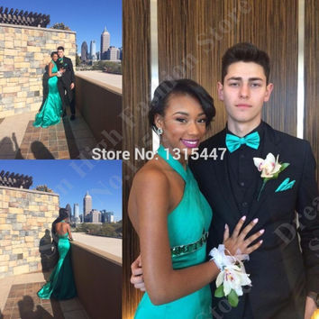 Full Sexy Women Formal Evening Gowns Long Fitted Backless Mermaid Prom Dresses 2016 Halter Summer Style Turquoise Party Dress