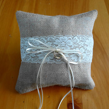 Wedding Ring Bearer Burlap and Lace Pillow