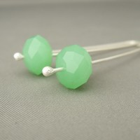Spearmint Green and Sterling Silver Czech Glass Dangle Earrings | The Silver Forge Handcrafted Jewellery