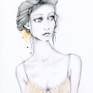 Pencil Drawing Fashion Illustration Giclee Fine Art Print of my Original Pencil Drawing Fashion Illustration Minimalist Art ohtteam
