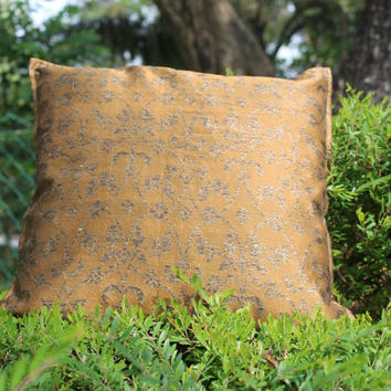 2 Decorative Olive Green Throw Pillows Accent Sofa Pillows 16 x 16 Couch Cushions Indian Fabric Cotton Pillow Cover Cushion Cover Home Décor