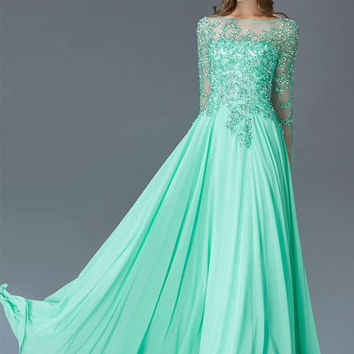 Long Sleeve Prom Dresses Chiffon MOB Modest Prom Dress Evening Gown 2016 Floor Length Prom Dresses Green Vestidos De Baile