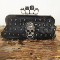 Skull Embellished Knuckle Clutch Purse