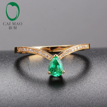 CaiMao 18KT/750 Yellow Gold 0.62ct Emerald &  0.11ct Round Cut Diamond Engagement Gemstone Ring Jewelry