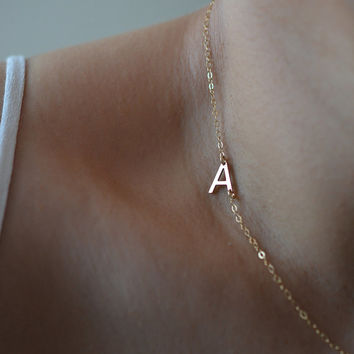 Sideways Initial Necklace, Gold Initial Necklace, Side Letter Necklace, Letter Necklace