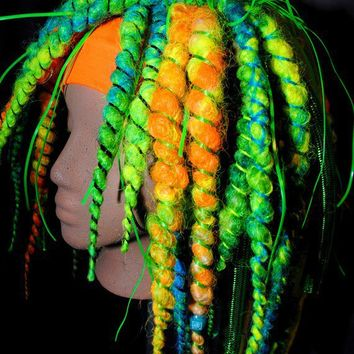 UV Green spiral Hair Falls by SparkleFide on Etsy