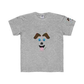KIDS COTTON T-shirt: Happy Dog design ships free by PonsArt $28.00