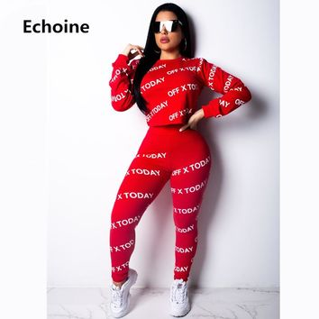 Women Letter Print 2 Pieces Set Sportwear Casual Crop Top And Pants Bodycon Set Female Clubwear Outfit Womens Pants Set