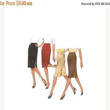 SALE High Waisted Pencil Skirt Sewing Pattern Size 12 Waist 26 1980s Style 3010 Vintage Sewing Pattern