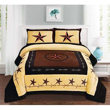Western Beige Barbed Wire Horse Star Blanket Borrego Fleece - 3 Piece Set