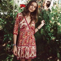 Womens Boho Hippie Mini Dress