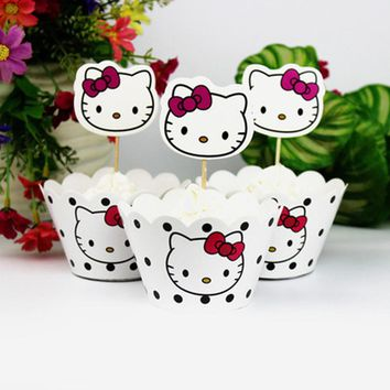 24pcs/lot Birthday Party DIY Cupcake Wrappers Decoration Happy Baby Shower Hello Kitty Theme Events Kids Favors Cake Toppers
