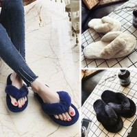 Furry Fashion Women Slip Flat Flip Flops Slider Mules Fur Slipper Sandals Shoes