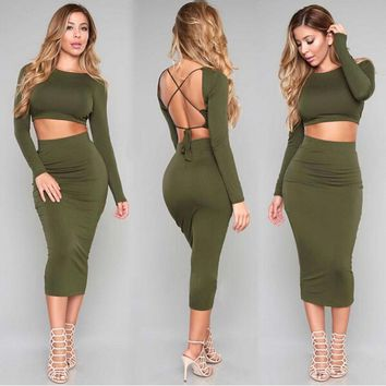 Army Green 2pc Tie Up Crop Top and Maxi Skirt
