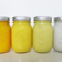 Yellow Ombre Painted Mason Jar Set