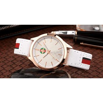 GUCCI New Popular Women Men Personality Bee Stripe Movement Watch Wrist Watch White I12598-1