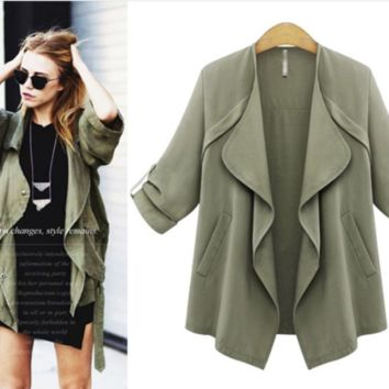 Roll-Up Sleeve Lapel Pocket Coat