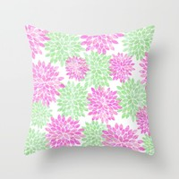 pink and green flowers Throw Pillow by Sylvia Cook Photography
