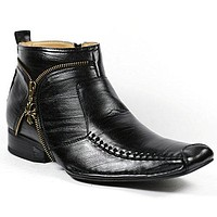Men's MFA-606318 Leather Lining and Full Side Zipper Dress Ankle Boots