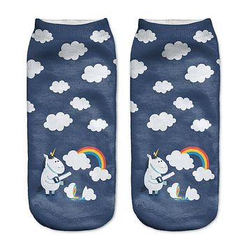 New! 3D Funny Clouds Ankle Socks For Women