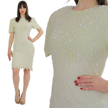 Sequin beaded dress white beaded dress Vintage sequin dress Gatsby dress white party mini dress 80s cocktail party dress flapper dress S