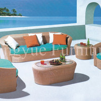 Rattan garden sofa set furniture with cushion and pillows sale