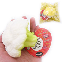 8.5cm new Kawaii arrival White green Khaki slow rising Cauliflower with squishy charm toy