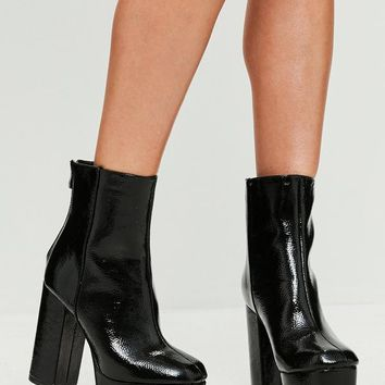 Missguided - Black Vinyl Platform Heeled Ankle Boots