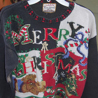 Vintage 80s Heirloom Collectibles Tacky Ugly Oversize Cropped Holiday Christmas Xmas Sweater Small