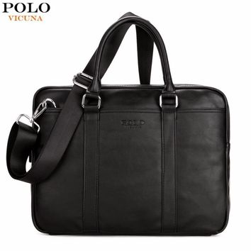 Smart Casual Leather Briefcase / Trendy Solid Leather Handbag