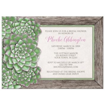 Bridal Shower Invitations - Green and Pink Succulent Wood
