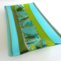 Fused Glass Dish in Turquoise and Spring Green