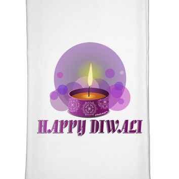 Happy Diwali Purple Candle Flour Sack Dish Towel by TooLoud