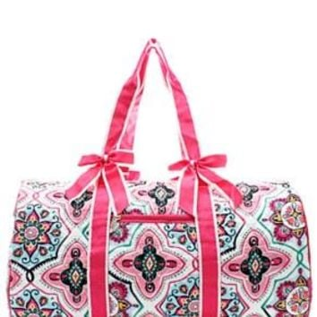 Flower Print Quilted Duffel Bag - 2 Color Choices