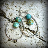 Silver Hoops, Faceted Round Agate S.. on Luulla