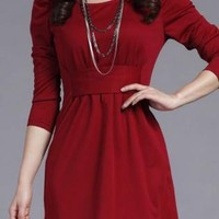 Pink Day Dress - WOMEN  CASUAL CAREER DRESS REDPINK | UsTrendy