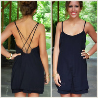 Dream Girl Black Cross Back Dress